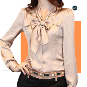 Bow Tie Neck Casual Work Office Blouse Shirts