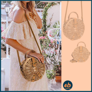 Lefur Rattan Bag Handmade Wicker Circle Woven Purse Round Straw Handbag for Women Crossbody Bag with Shoulder Leather Strap