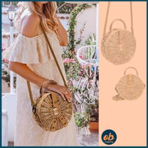 Lefur Rattan Bag Handmade Wicker Circle Woven Purse Round Straw Handbag for Women Crossbody Bag with Shoulder Leather Strap
