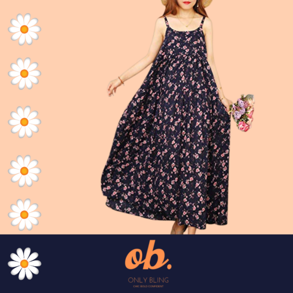 Floral Print Empire Waist Spaghetti Strap Long Summer Swing Dress