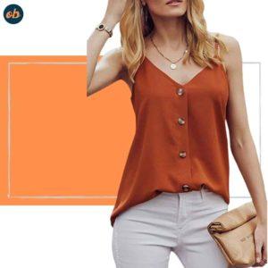 Summer V-neck Button Down Shirt