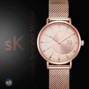 Women Stainless Steel Band Watches Ladies Quartz Wristwatches Waterproof Unique Design Mesh Bracelet Watch