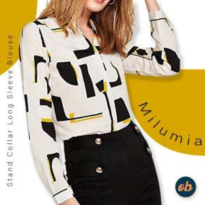 Button Workwear Shirt Stand Collar Long Sleeve Blouse