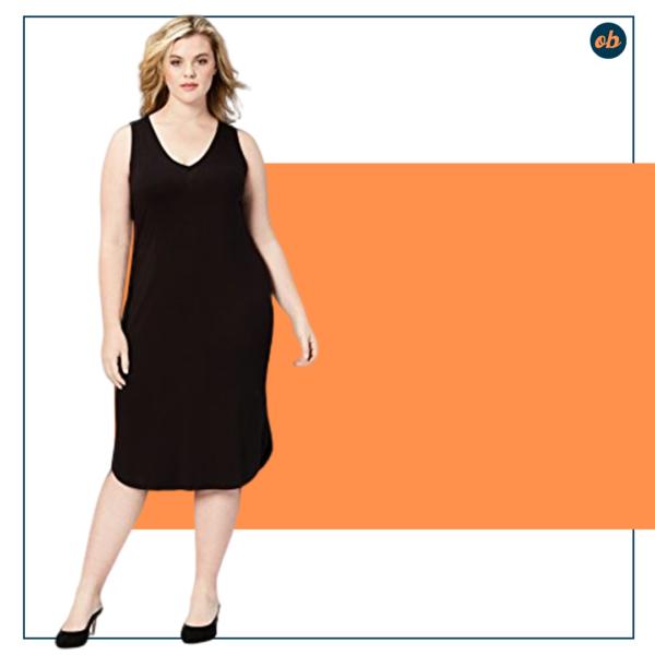 Plus Size Jersey Sleeveless V-Neck Dress