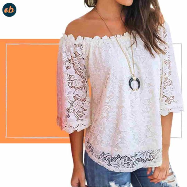 Lace Off Shoulder Casual Top