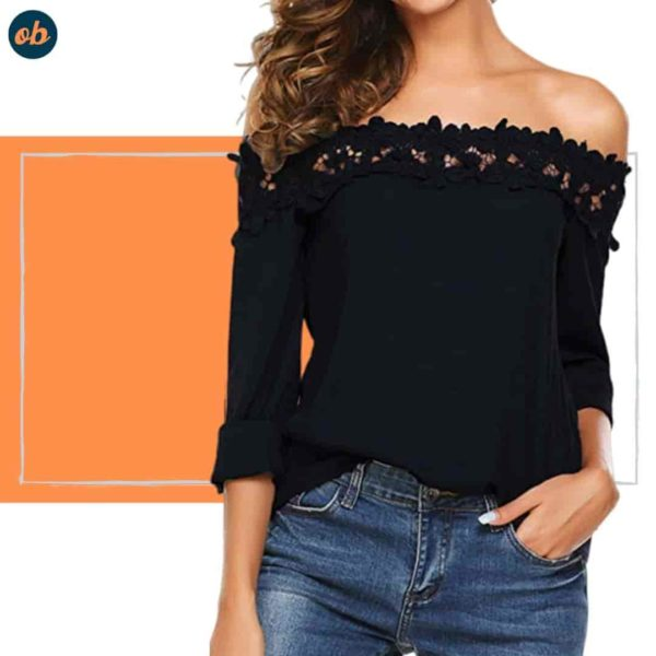 Lace Patchwork Off-Shoulder Shirt