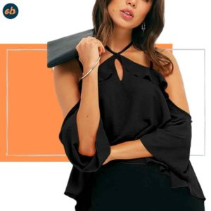 Halter neck backless blouse