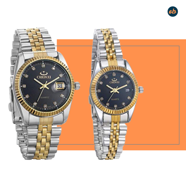 Gold-Silver Tone Couple Wristwatch