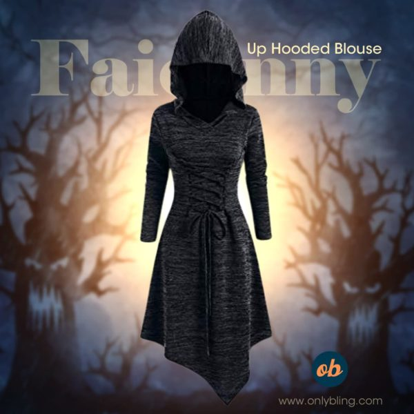 Faionny Women Halloween Witch Dress Plus Size Jumpdress Lace Up Hooded Blouse Solid Long Sleeve Tops