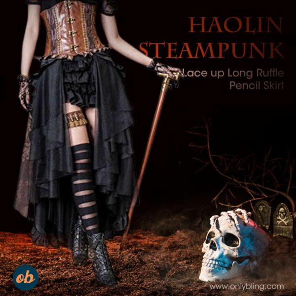 Halloween Steampunk Retro Victorian Pencil Skirt