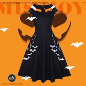 Halloween Bat Spider Print Swing Dress