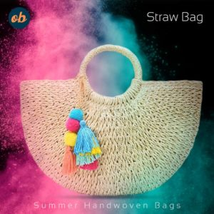 Womens Large Straw Bags Beach Tote Bag Hobo Summer Handwoven Bags Purse With Pom Poms