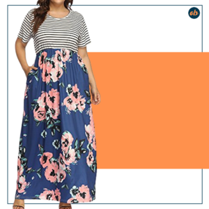 Plus Size Floral Print Maxi Long Dress