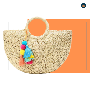 Womens Handwoven Purse With Pom Poms