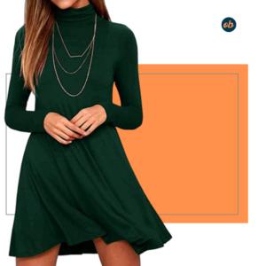 Turtleneck Casual Loose Short Dresses