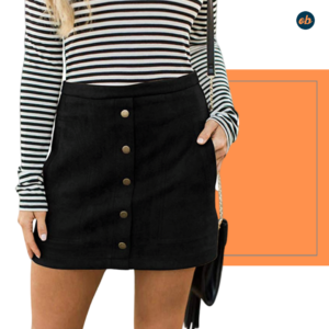Button Front High Waist Mini Skirt