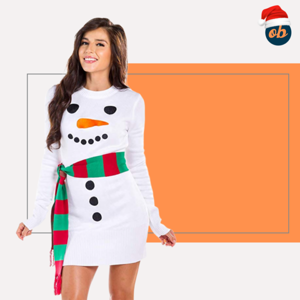 White Snowman Christmas Dress with Scarf