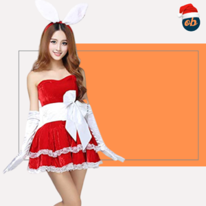 Christmas Party Cosplay Rabbit Mini Dress Sexy Uniform Set