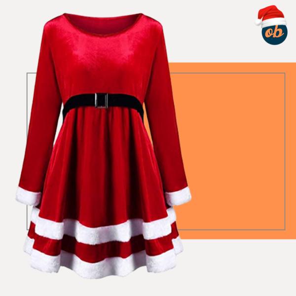Christmas Velvet Long Sleeve O-Neck Red Festival Dress