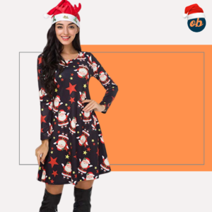 Christmas Long Sleeve Pullover Swing Santa Midi Dress