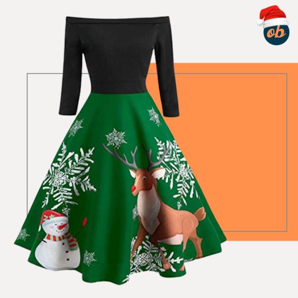 Christmas Vintage Print Off Shoulder Evening Party Dress