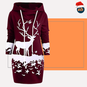 Christmas Mini Sweatshirts Dress Reindeer Printed Hooded Tops