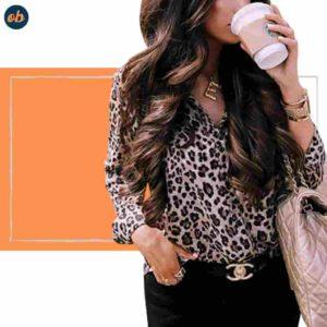 Leopard-Print Long Sleeve Shirt Top