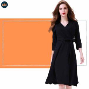 Valentine 3/4 Sleeve Black Dresses
