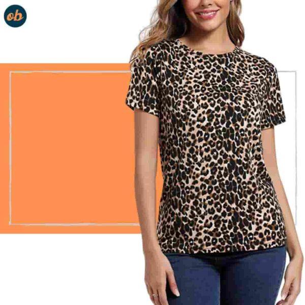Leopard-Print Round Neck Top