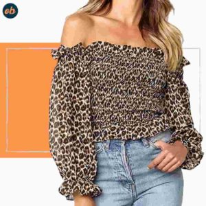 Leopard-Print Off-Shoulder Top