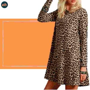 Leopard-Print Long Sleeve Dress