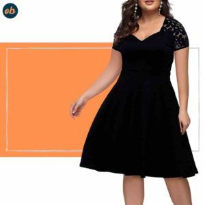 Valentine Plus-Size Black Short Dresses