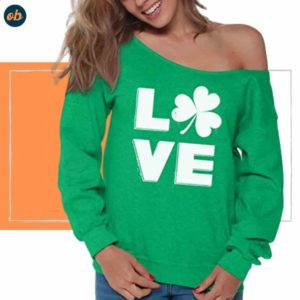 Clover Leaf Off-Shoulder Sweatshirt