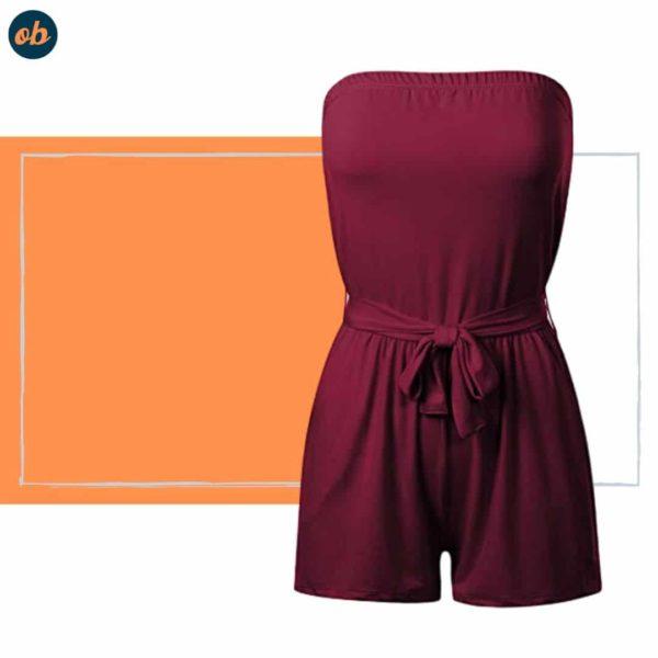 Printed Tube Short Wrap Jumpsuit