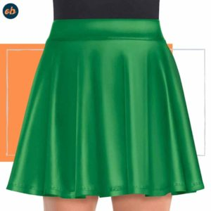 Green Silky Short Skirt